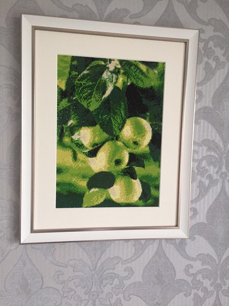 Алмазная вышивка зеленые яблоки 15